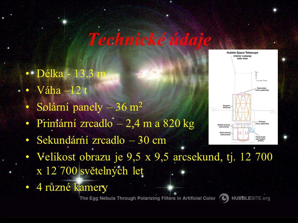 Technické údaje Délka - 13,3 m Váha –12 t Solární panely – 36 m 2 Primární zrcadlo – 2,4 m a 820 kg Sekundární zrcadlo – 30 cm Velikost obrazu je 9,5 x 9,5 arcsekund, tj.