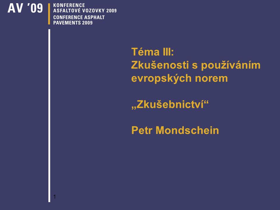 """1 Téma III: Zkušenosti s používáním evropských norem """"Zkušebnictví"""" Petr Mondschein"""