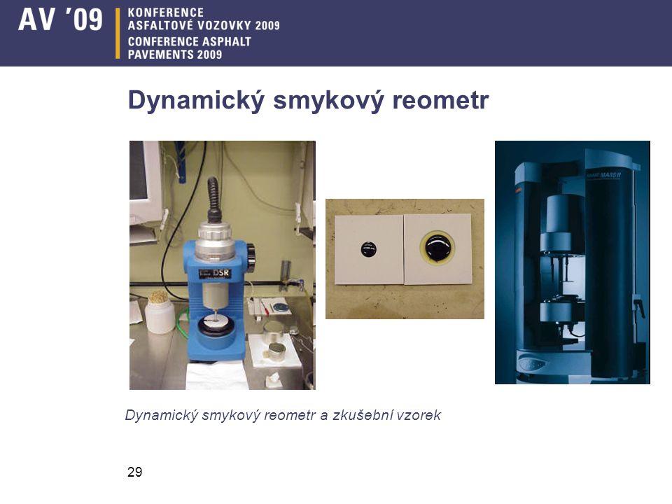 29 Dynamický smykový reometr Dynamický smykový reometr a zkušební vzorek