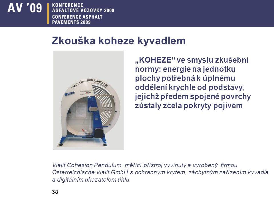 38 Zkouška koheze kyvadlem Vialit Cohesion Pendulum, měřící přístroj vyvinutý a vyrobený firmou Österreichische Vialit GmbH s ochranným krytem, záchyt