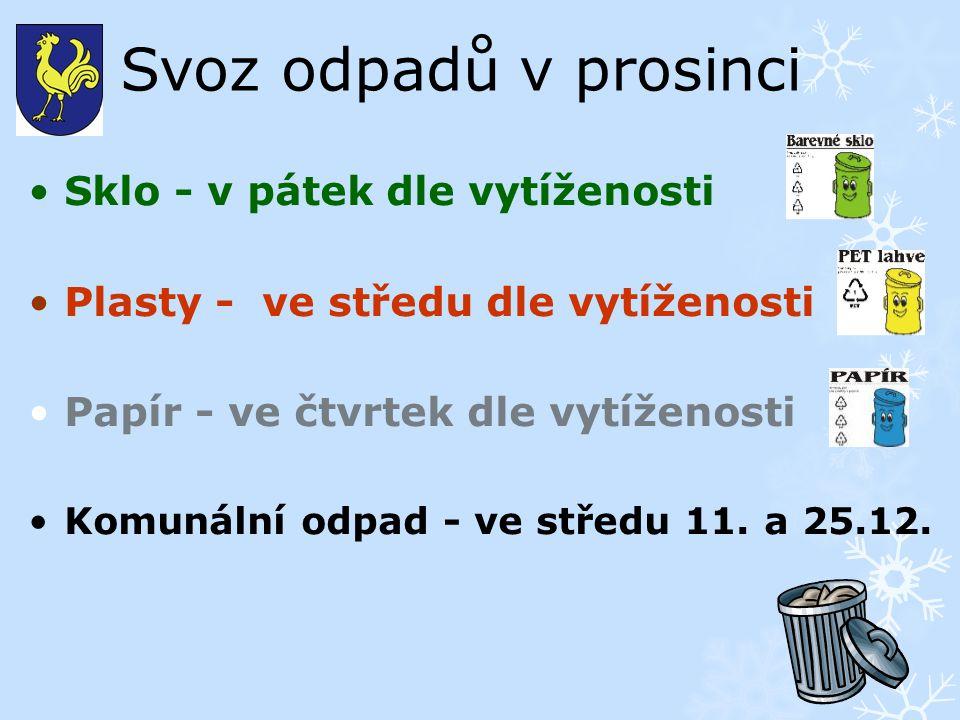 Svoz odpadů v prosinci Sklo - v pátek dle vytíženosti Plasty - ve středu dle vytíženosti Papír - ve čtvrtek dle vytíženosti Komunální odpad - ve středu 11.