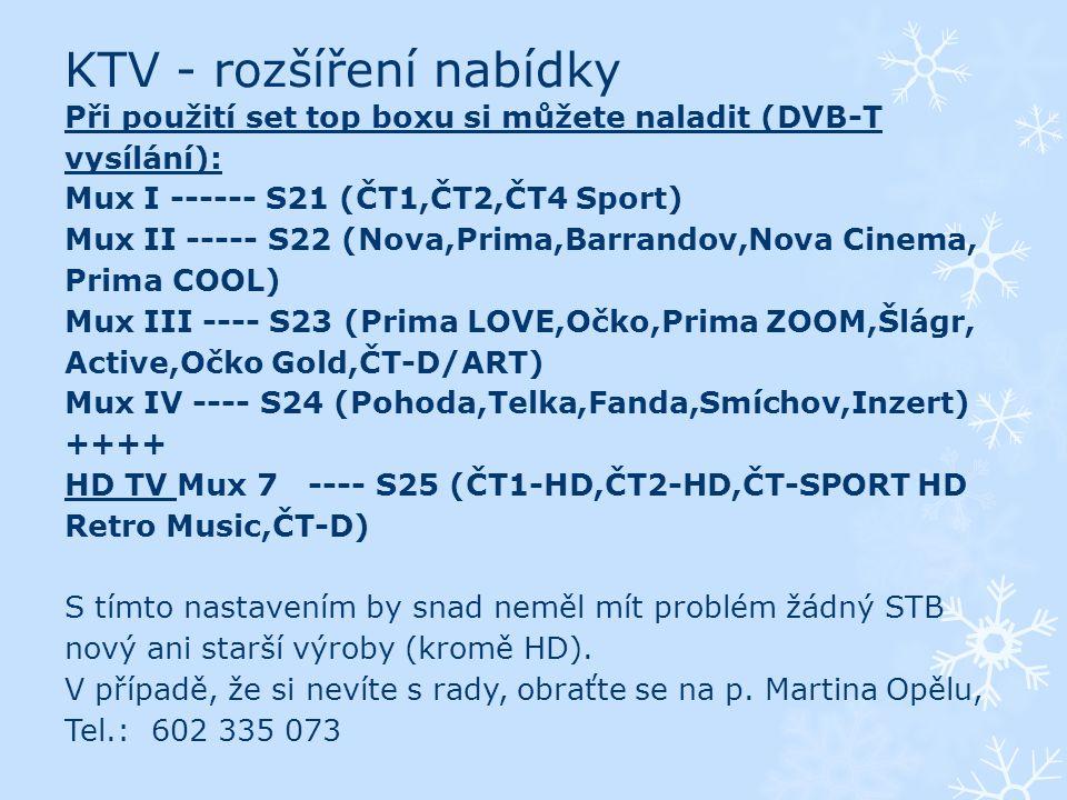 KTV - rozšíření nabídky Při použití set top boxu si můžete naladit (DVB-T vysílání): Mux I ------ S21 (ČT1,ČT2,ČT4 Sport) Mux II ----- S22 (Nova,Prima,Barrandov,Nova Cinema, Prima COOL) Mux III ---- S23 (Prima LOVE,Očko,Prima ZOOM,Šlágr, Active,Očko Gold,ČT-D/ART) Mux IV ---- S24 (Pohoda,Telka,Fanda,Smíchov,Inzert) ++++ HD TV Mux 7 ---- S25 (ČT1-HD,ČT2-HD,ČT-SPORT HD Retro Music,ČT-D) S tímto nastavením by snad neměl mít problém žádný STB nový ani starší výroby (kromě HD).