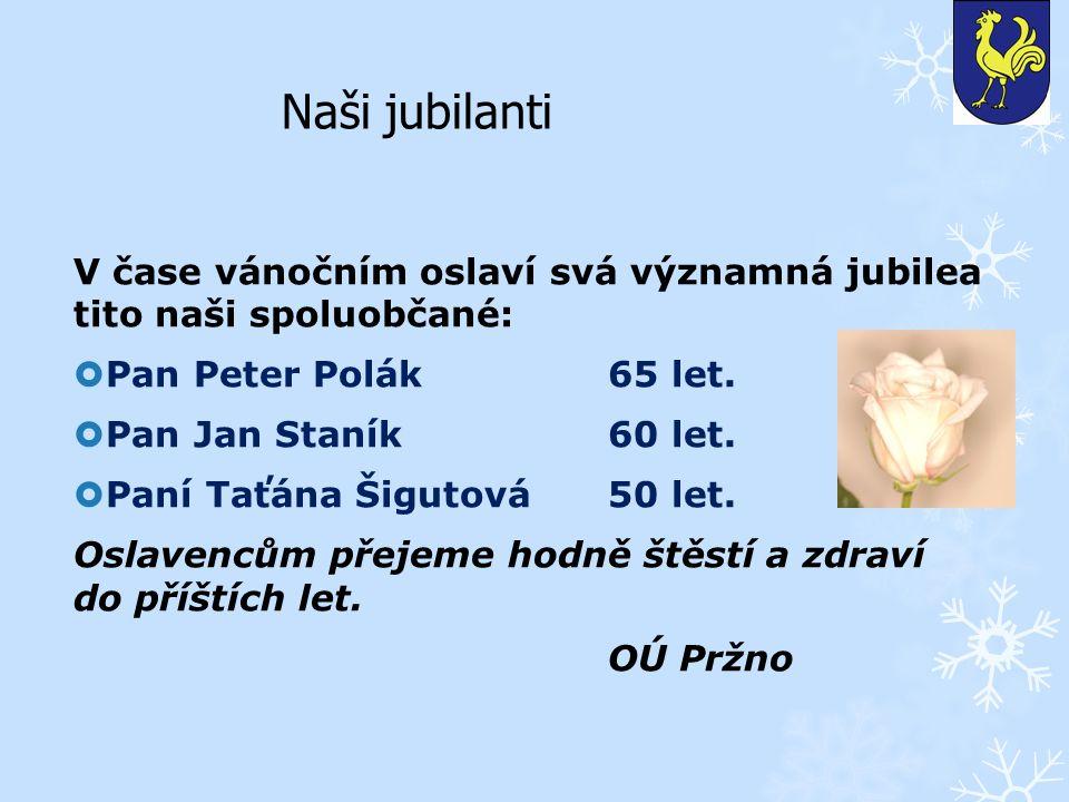 Naši jubilanti V čase vánočním oslaví svá významná jubilea tito naši spoluobčané:  Pan Peter Polák65 let.