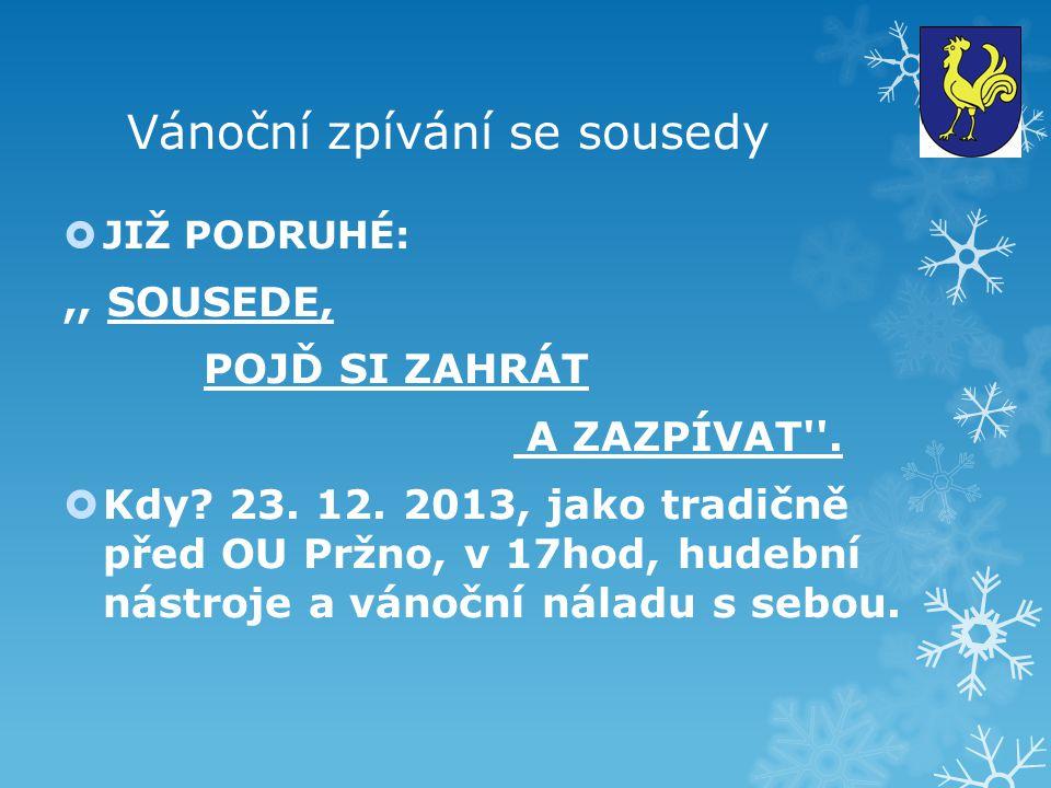 Vánoční zpívání se sousedy  JIŽ PODRUHÉ:,, SOUSEDE, POJĎ SI ZAHRÁT A ZAZPÍVAT .
