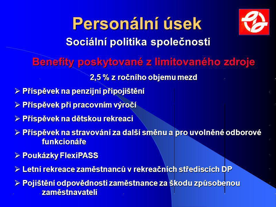 Personální úsek Sociální politika společnosti Benefity poskytované z limitovaného zdroje 2,5 % z ročního objemu mezd  Příspěvek na penzijní připojišt