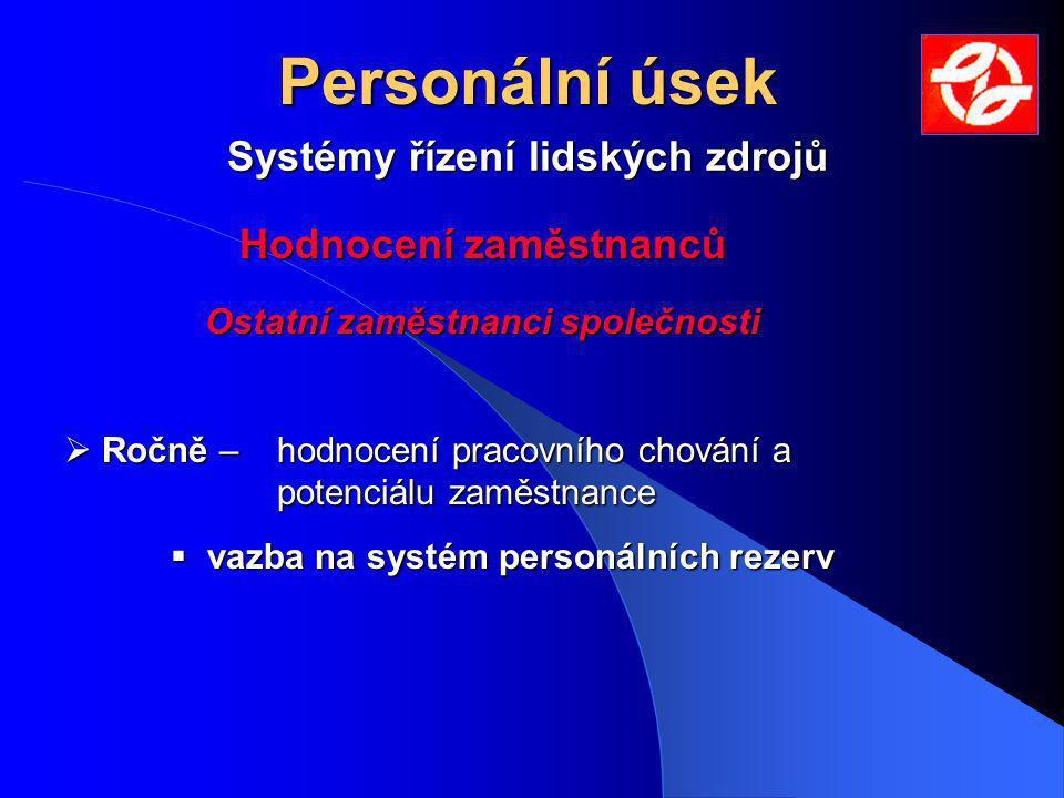 Systémy řízení lidských zdrojů Personální úsek Hodnocení zaměstnanců Hodnocení zaměstnanců Ostatní zaměstnanci společnosti Ostatní zaměstnanci společnosti  Ročně – hodnocení pracovního chování a potenciálu zaměstnance  vazba na systém personálních rezerv