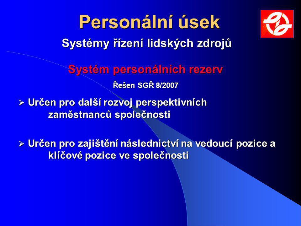 Systémy řízení lidských zdrojů Personální úsek  Určen pro další rozvoj perspektivních zaměstnanců společnosti  Určen pro zajištění následnictví na v