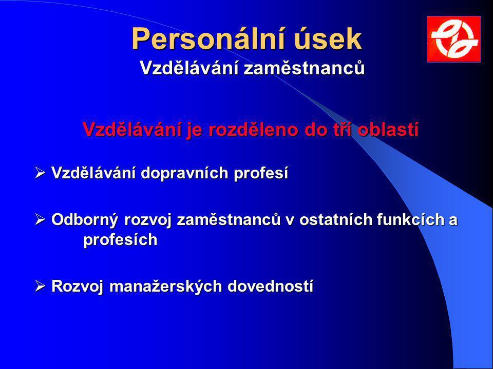 Personální úsek Vzdělávání zaměstnanců Vzdělávání je rozděleno do tří oblastí  Vzdělávání dopravních profesí  Odborný rozvoj zaměstnanců v ostatních