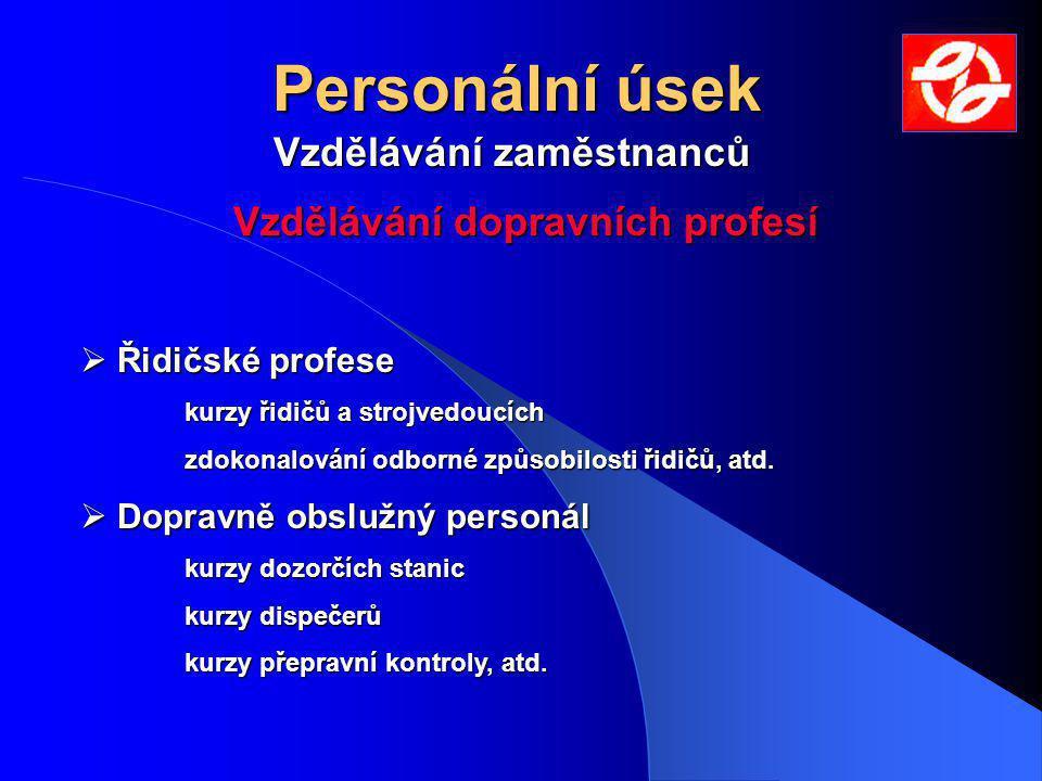 Personální úsek Vzdělávání zaměstnanců Odborný rozvoj zaměstnanců  Dělnické profese základní kurzy, periodická školení a přezkušování, atd.