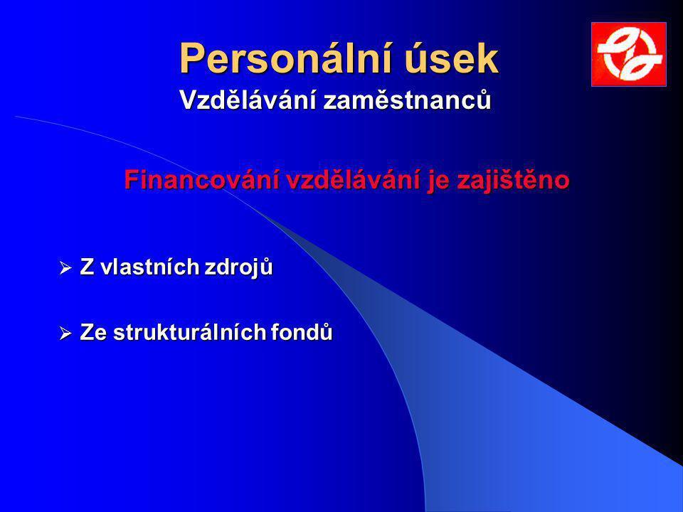 Personální úsek Z vlastních zdrojů  Z vlastních zdrojů  Ze strukturálních fondů Vzdělávání zaměstnanců Financování vzdělávání je zajištěno