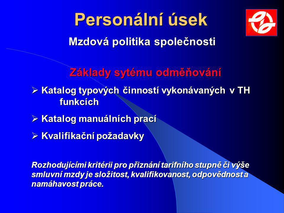 Personální úsek Mzdová politika společnosti Základy sytému odměňování  Katalog typových činností vykonávaných v TH funkcích  Katalog manuálních prac