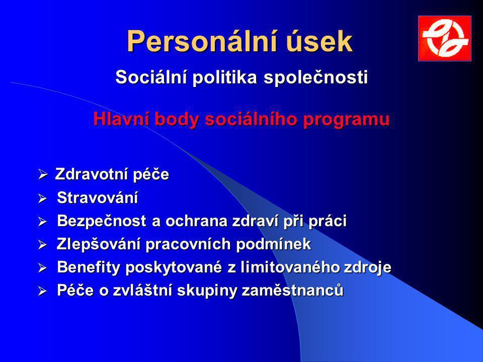 Sociální politika společnosti Hlavní body sociálního programu  Zdravotní péče  Stravování  Bezpečnost a ochrana zdraví při práci  Zlepšování pracovních podmínek  Benefity poskytované z limitovaného zdroje  Péče o zvláštní skupiny zaměstnanců Personální úsek