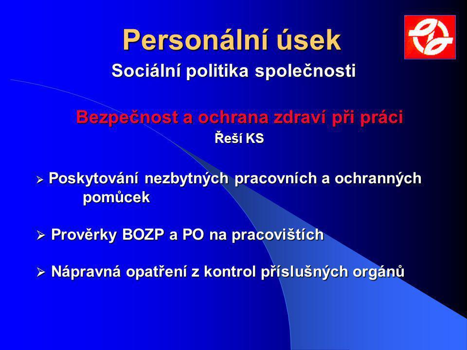 Personální úsek Sociální politika společnosti Bezpečnost a ochrana zdraví při práci Řeší KS  Poskytování nezbytných pracovních a ochranných pomůcek 