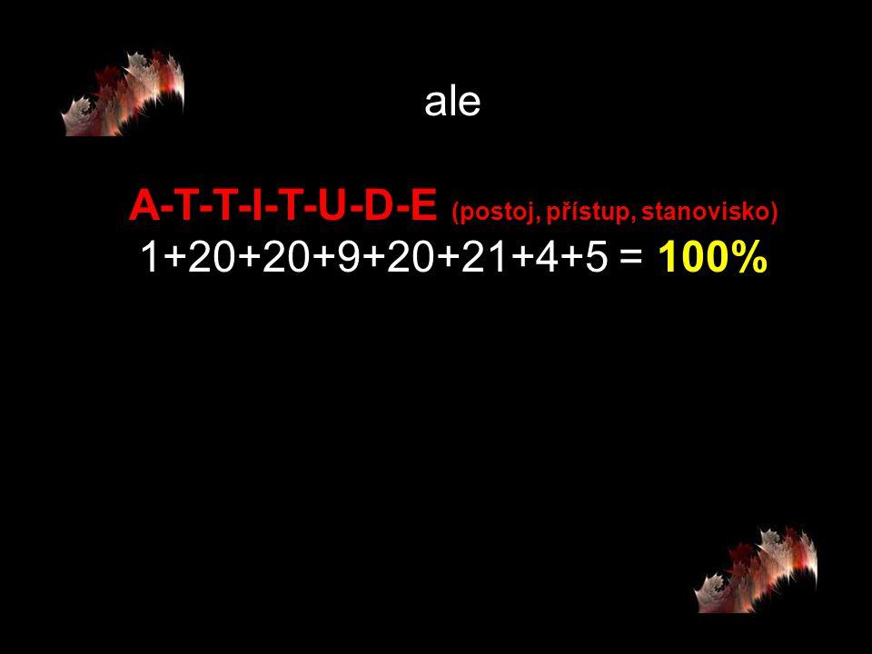 potom H-A-R-D-W-O-R- K (tvrdá práce, makačka) 8+1+18+4+23+15+18+11 = 98% a K-N-O-W-L-E-D-G-E (vědomosti, vzdělanos) 11+14+15+23+12+5+4+7+5 = 96%