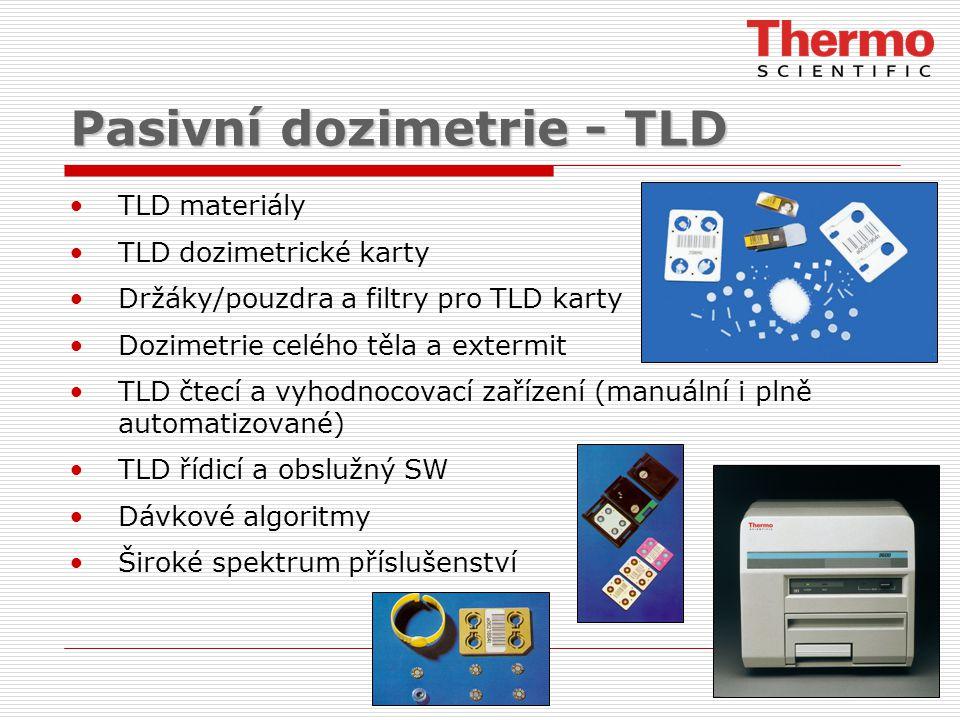 Pasivní dozimetrie - TLD TLD materiály TLD dozimetrické karty Držáky/pouzdra a filtry pro TLD karty Dozimetrie celého těla a extermit TLD čtecí a vyhodnocovací zařízení (manuální i plně automatizované) TLD řídicí a obslužný SW Dávkové algoritmy Široké spektrum příslušenství