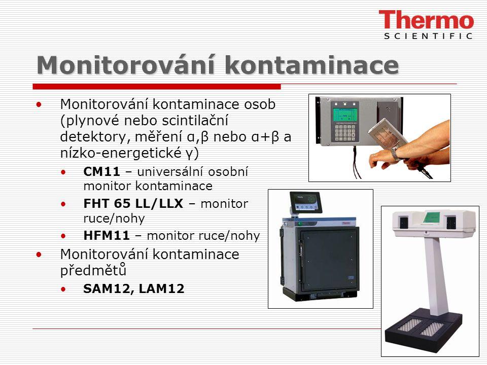 Monitorování kontaminace Monitorování kontaminace osob (plynové nebo scintilační detektory, měření α,β nebo α+β a nízko-energetické γ) CM11 – universální osobní monitor kontaminace FHT 65 LL/LLX – monitor ruce/nohy HFM11 – monitor ruce/nohy Monitorování kontaminace předmětů SAM12, LAM12