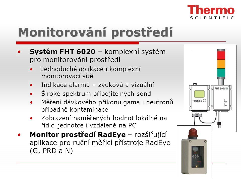Monitorování prostředí Systém FHT 6020 – komplexní systém pro monitorování prostředí Jednoduché aplikace i komplexní monitorovací sítě Indikace alarmu – zvuková a vizuální Široké spektrum připojitelných sond Měření dávkového příkonu gama i neutronů případně kontaminace Zobrazení naměřených hodnot lokálně na řídicí jednotce i vzdáleně na PC Monitor prostředí RadEye – rozšiřující aplikace pro ruční měřicí přístroje RadEye (G, PRD a N)