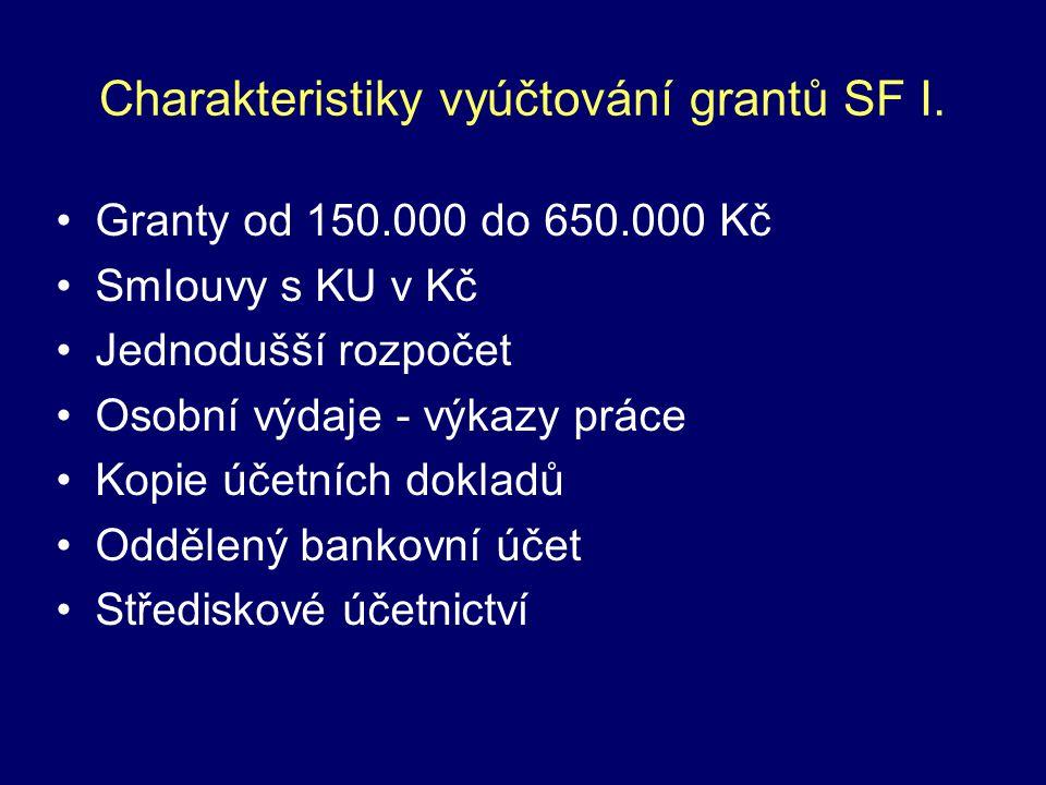 Charakteristiky vyúčtování grantů SF I. Granty od 150.000 do 650.000 Kč Smlouvy s KU v Kč Jednodušší rozpočet Osobní výdaje - výkazy práce Kopie účetn