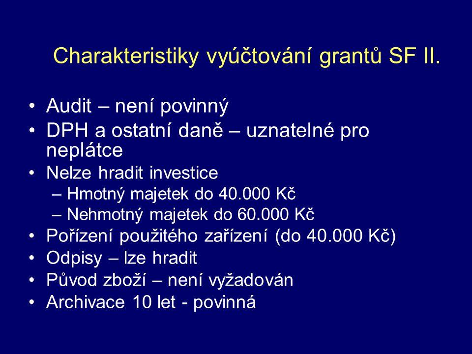 Audit – není povinný DPH a ostatní daně – uznatelné pro neplátce Nelze hradit investice –Hmotný majetek do 40.000 Kč –Nehmotný majetek do 60.000 Kč Pořízení použitého zařízení (do 40.000 Kč) Odpisy – lze hradit Původ zboží – není vyžadován Archivace 10 let - povinná Charakteristiky vyúčtování grantů SF II.