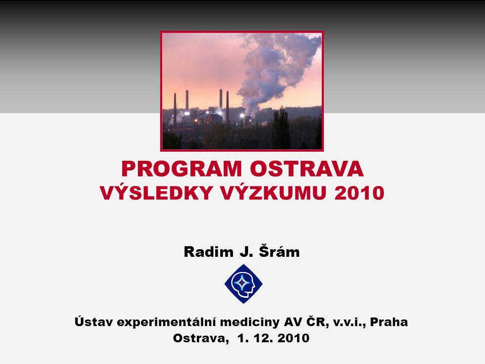 PROGRAM OSTRAVA VÝSLEDKY VÝZKUMU 2010 Radim J. Šrám Ústav experimentální mediciny AV ČR, v.v.i., Praha Ostrava, 1. 12. 2010