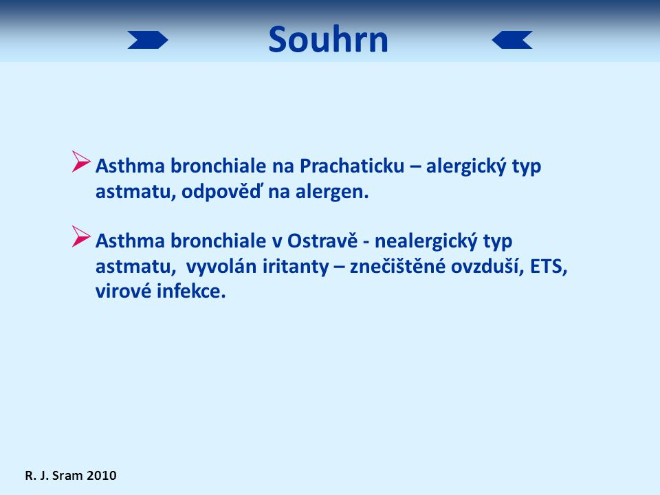  Asthma bronchiale na Prachaticku – alergický typ astmatu, odpověď na alergen.  Asthma bronchiale v Ostravě - nealergický typ astmatu, vyvolán irita