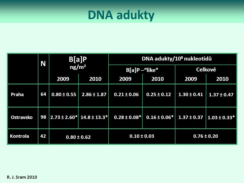 DNA adukty R. J. Sram 2010 B[a]P ng/m 2 0.80 ± 0.55 2.73 ± 2.60* 1.30 ± 0.41 1.37 ± 0.37 0.21 ± 0.06 0.28 ± 0.08* Praha Ostravsko 64 98 Kontrola DNA a