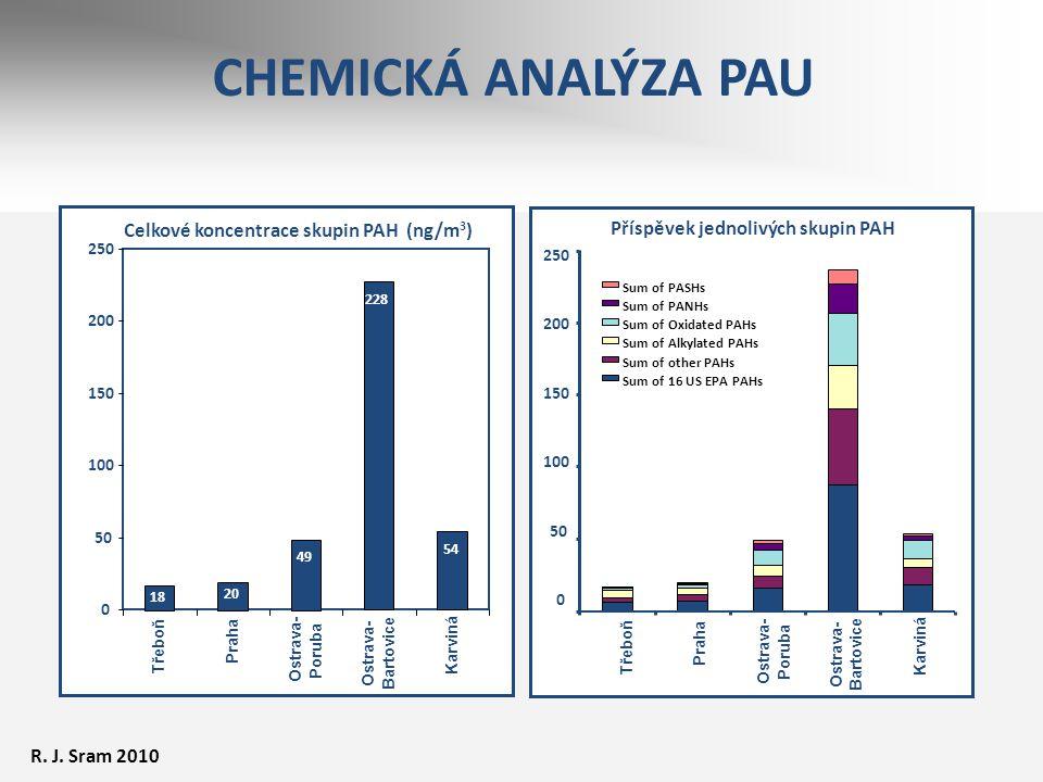 CHEMICKÁ ANALÝZA PAU Celkové koncentrace skupin PAH (ng/m 3 ) 18 20 49 228 54 0 50 100 150 200 250 Třeboň Praha Ostrava- Poruba Ostrava- Bartovice Kar