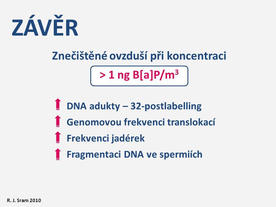 ZÁVĚR Znečištěné ovzduší při koncentraci > 1 ng B[a]P/m 3 DNA adukty – 32-postlabelling Genomovou frekvenci translokací Frekvenci jadérek Fragmentaci