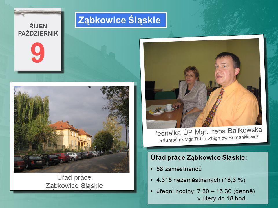 9 ŘÍJEN PAŹDZIERNIK informace Úřadu práce Ząbkowice Śląskie interiér Úřadu práce Ząbkowice Śląskie Polsko (podzim 2007): minimální mzda: 936 zlotých [ 6.800 Kč ] průměrná mzda: 2.600 zlotých [ 18.980 Kč ] referent ÚP v průměru: 1.300 zlotých [ 9.490 Kč ]