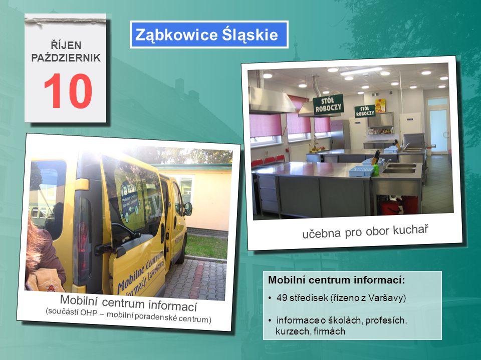 10 ŘÍJEN PAŹDZIERNIK Mobilní centrum informací (součástí OHP – mobilní poradenské centrum) Ząbkowice Śląskie Mobilní centrum informací: 49 středisek (