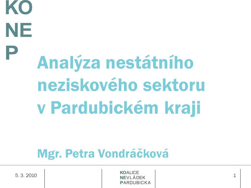 5. 3. 20101 Analýza nestátního neziskového sektoru v Pardubickém kraji Mgr. Petra Vondráčková