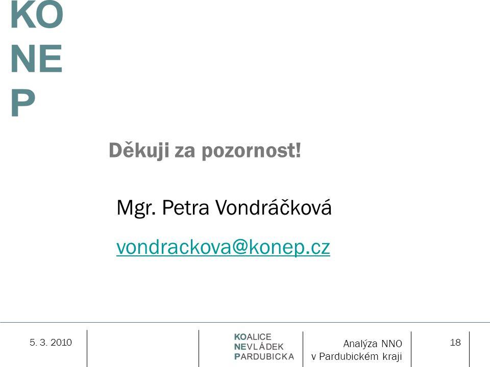 5. 3. 201018 Děkuji za pozornost! Mgr. Petra Vondráčková vondrackova@konep.cz Analýza NNO v Pardubickém kraji