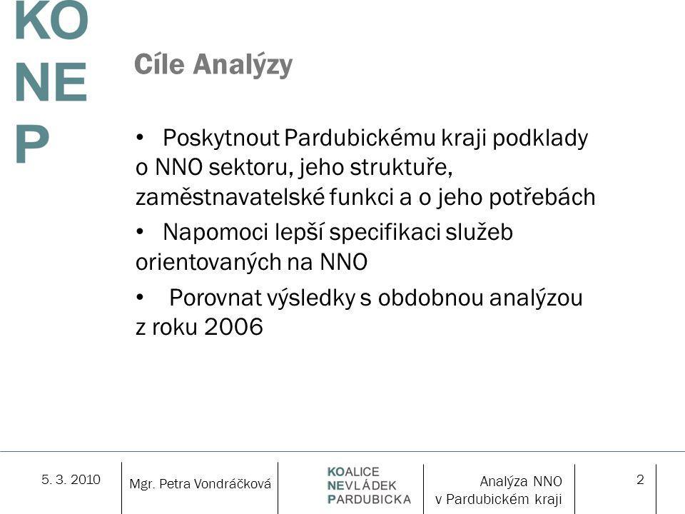 5. 3. 20102 Mgr. Petra Vondráčková Cíle Analýzy Poskytnout Pardubickému kraji podklady o NNO sektoru, jeho struktuře, zaměstnavatelské funkci a o jeho