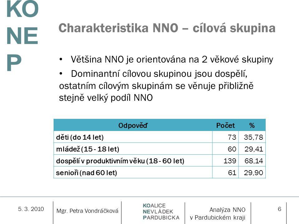 5. 3. 20106 Charakteristika NNO – cílová skupina Většina NNO je orientována na 2 věkové skupiny Dominantní cílovou skupinou jsou dospělí, ostatním cíl