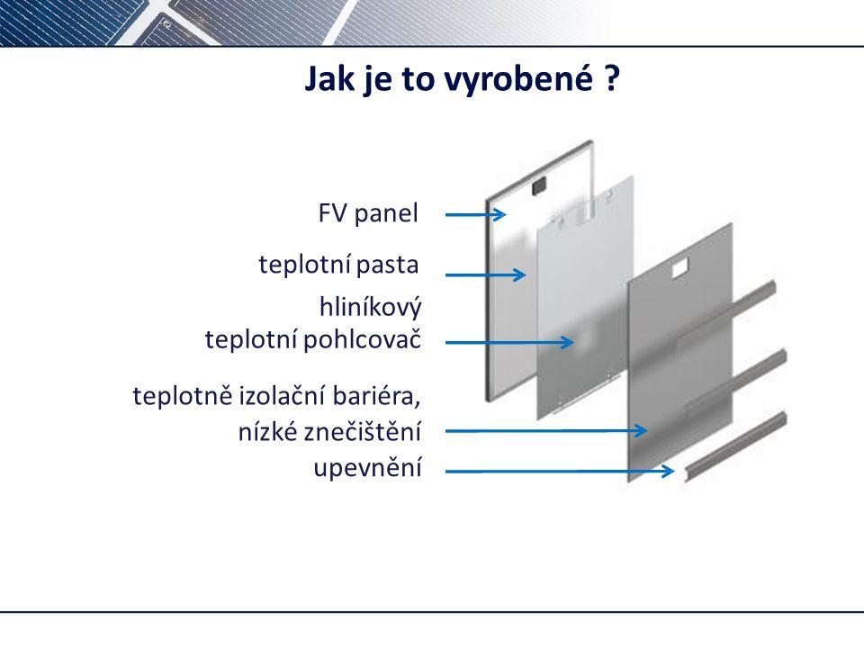Jak je to vyrobené ? FV panel upevnění teplotní pasta hliníkový teplotní pohlcovač teplotně izolační bariéra, nízké znečištění