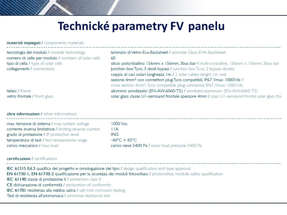 ic Technické parametry tepelného modulu