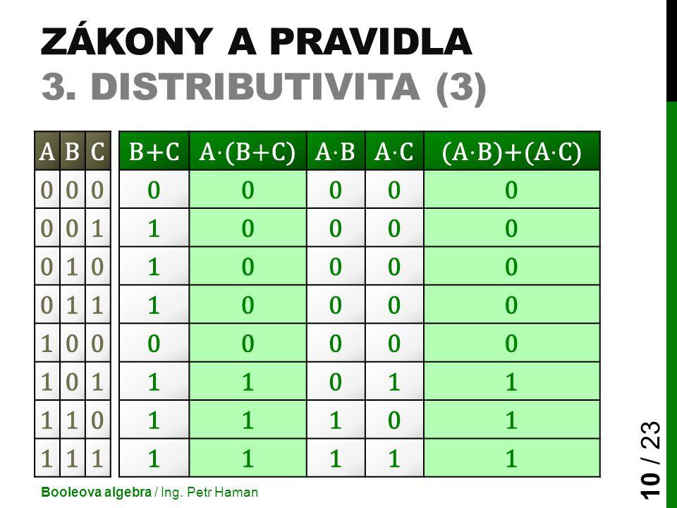 ZÁKONY A PRAVIDLA 3. DISTRIBUTIVITA (3) Booleova algebra / Ing. Petr Haman 10 / 23 ABCB+C 00000000 00110000 01010000 01110000 10000000 10111011 110111