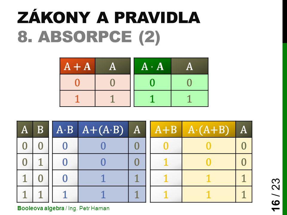 ZÁKONY A PRAVIDLA 8. ABSORPCE (2) Booleova algebra / Ing. Petr Haman 16 / 23 AA 0000 1111 ABAA+BA 00000000 01000100 10011111 11111111