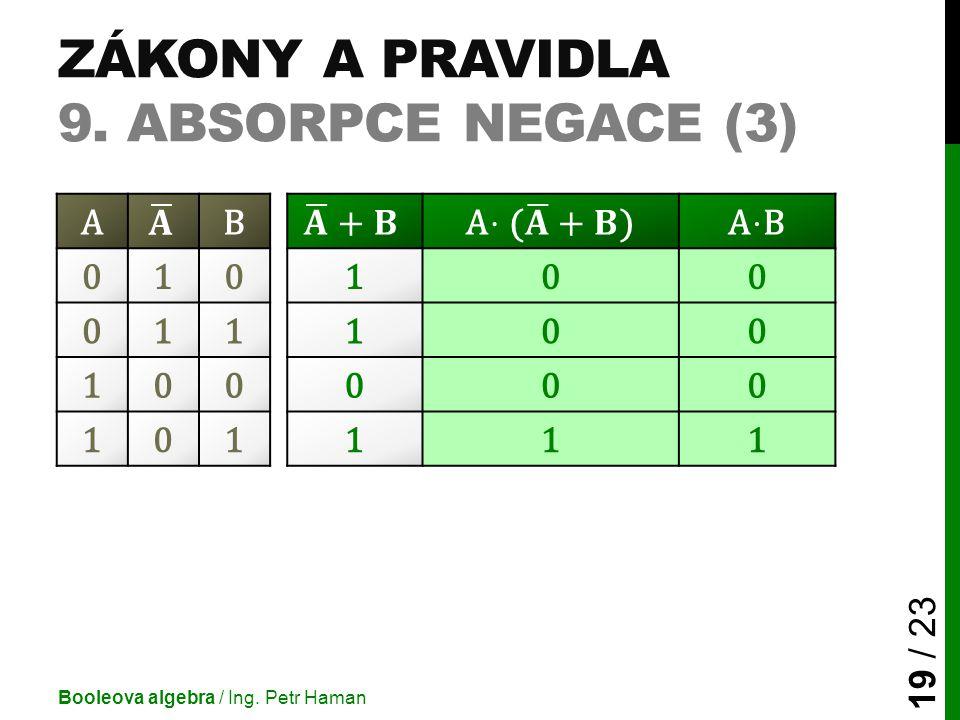 ZÁKONY A PRAVIDLA 9. ABSORPCE NEGACE (3) Booleova algebra / Ing. Petr Haman 19 / 23 AB 010100 011100 100000 101111