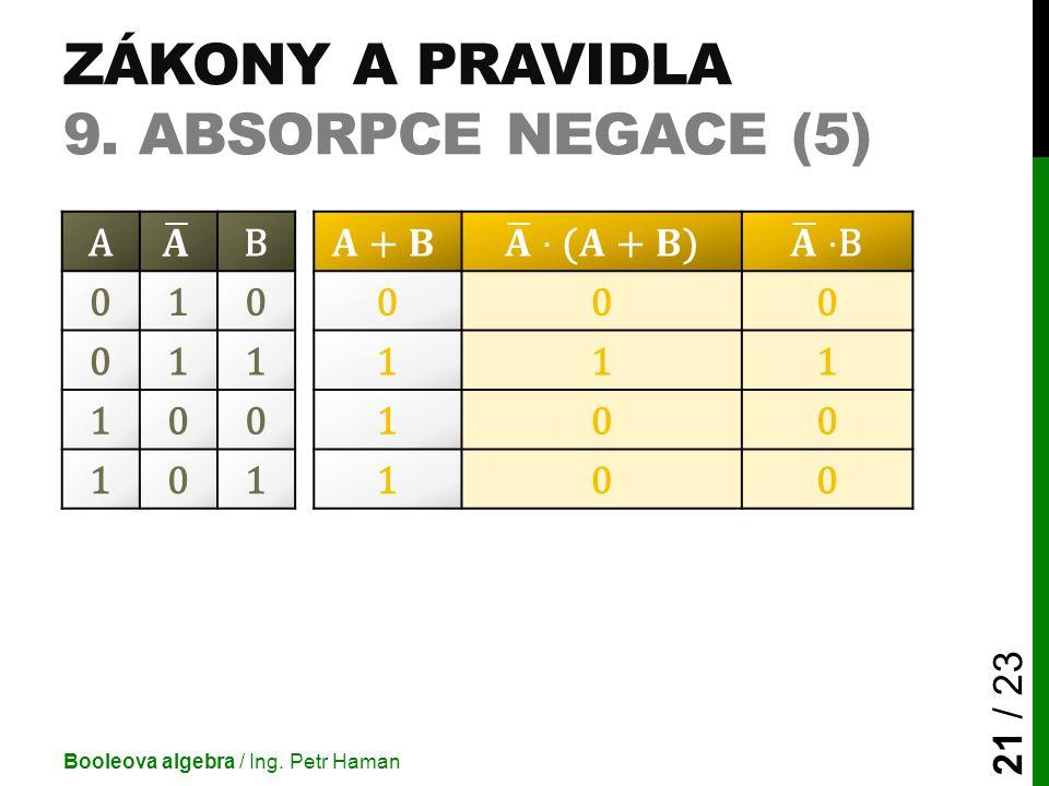 ZÁKONY A PRAVIDLA 9. ABSORPCE NEGACE (5) Booleova algebra / Ing. Petr Haman 21 / 23 AB 010000 011111 100100 101100