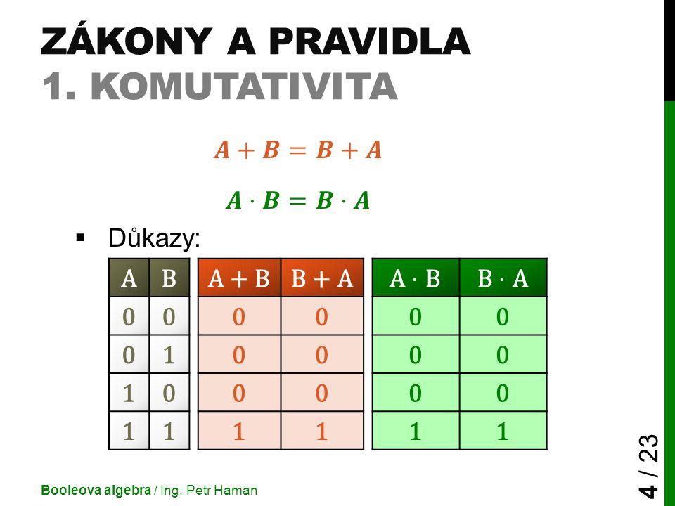 ZÁKONY A PRAVIDLA 1. KOMUTATIVITA Booleova algebra / Ing. Petr Haman 4 / 23 ABA + BB + A 000000 010000 100000 111111
