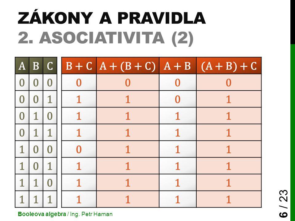 ZÁKONY A PRAVIDLA 2. ASOCIATIVITA (2) Booleova algebra / Ing. Petr Haman 6 / 23 ABCB + CA + (B + C)A + B(A + B) + C 0000000 0011101 0101111 0111111 10