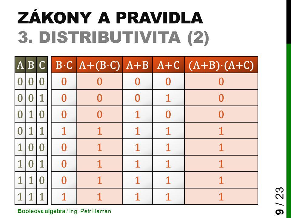 ZÁKONY A PRAVIDLA 3. DISTRIBUTIVITA (2) Booleova algebra / Ing. Petr Haman 9 / 23 ABCA+BA+C 00000000 00100010 01000100 01111111 10001111 10101111 1100