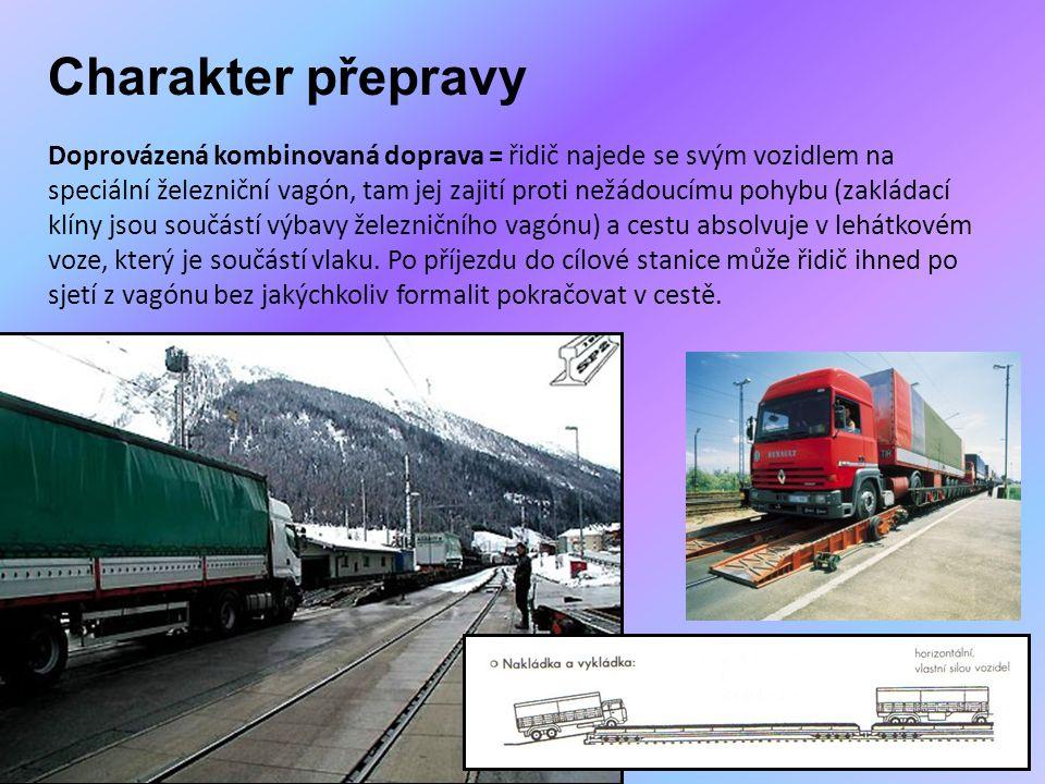 Charakter přepravy Doprovázená kombinovaná doprava = řidič najede se svým vozidlem na speciální železniční vagón, tam jej zajití proti nežádoucímu poh