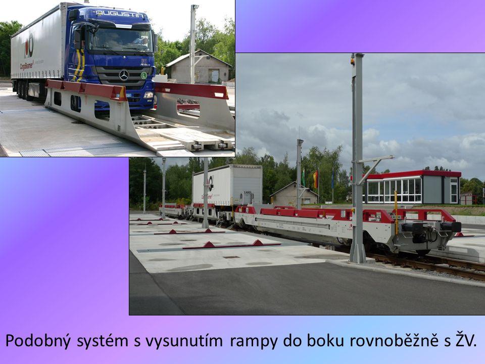 Podobný systém s vysunutím rampy do boku rovnoběžně s ŽV.