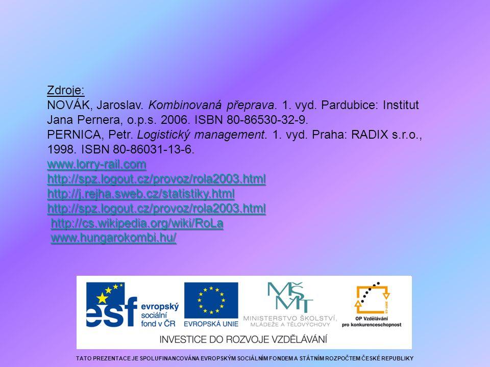 Zdroje: NOVÁK, Jaroslav. Kombinovaná přeprava. 1. vyd. Pardubice: Institut Jana Pernera, o.p.s. 2006. ISBN 80-86530-32-9. PERNICA, Petr. Logistický ma