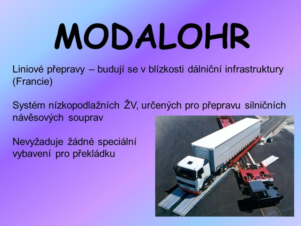 MODALOHR Liniové přepravy – budují se v blízkosti dálniční infrastruktury (Francie) Systém nízkopodlažních ŽV, určených pro přepravu silničních návěso