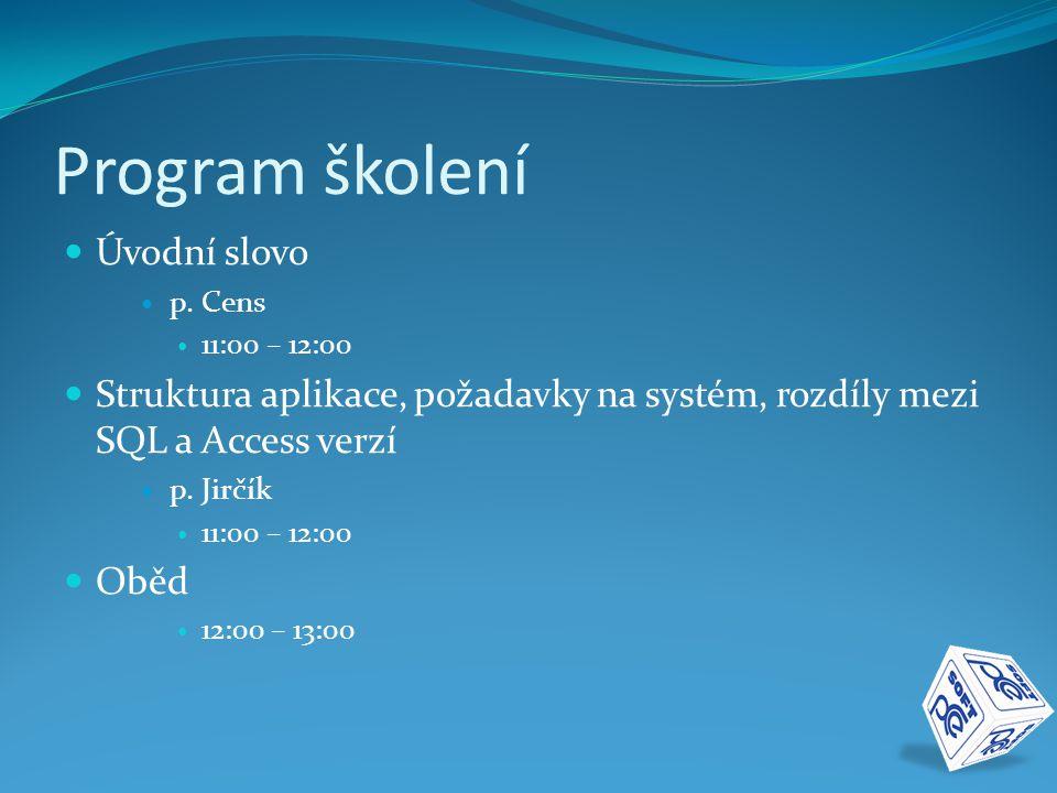 Program školení Úvodní slovo p.