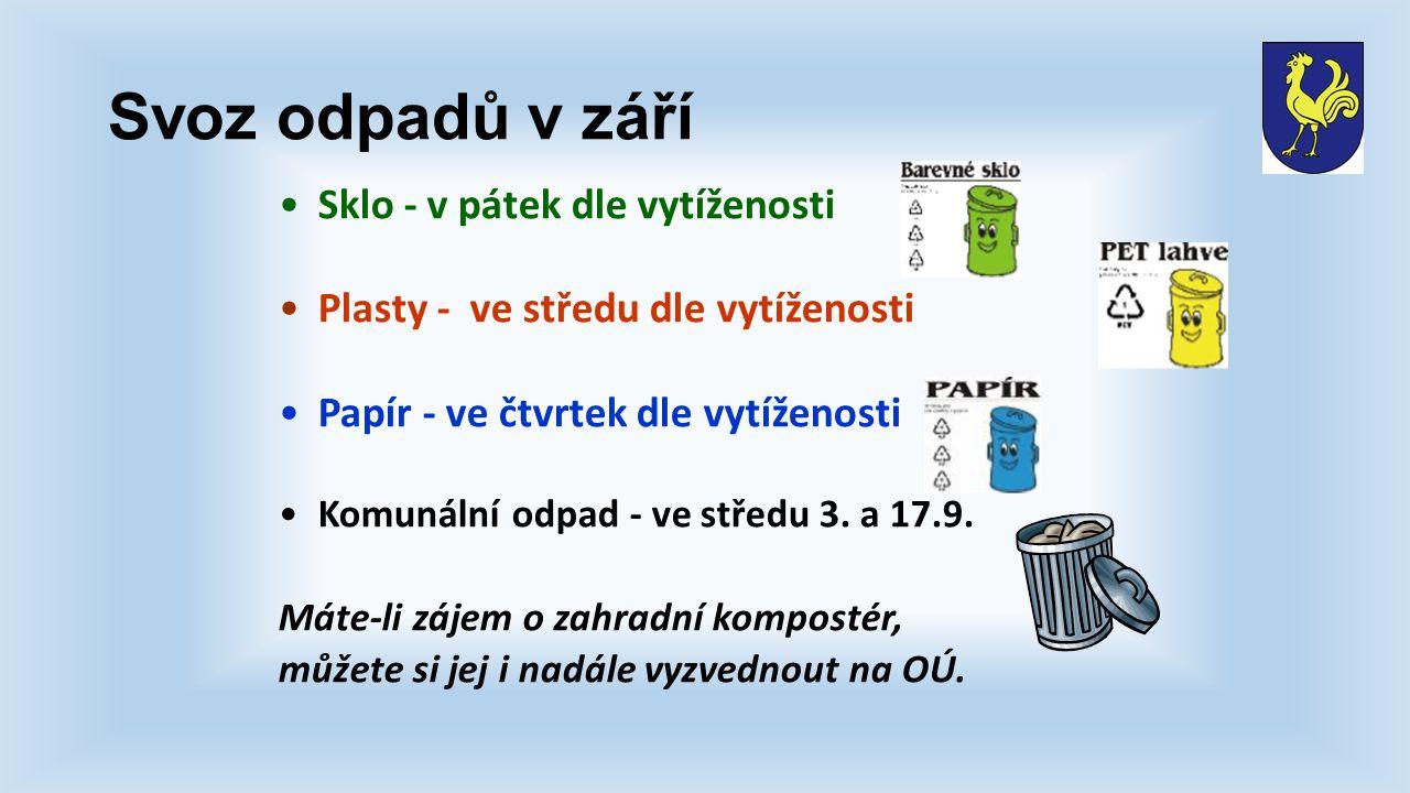 Svoz odpadů v září Sklo - v pátek dle vytíženosti Plasty - ve středu dle vytíženosti Papír - ve čtvrtek dle vytíženosti Komunální odpad - ve středu 3.