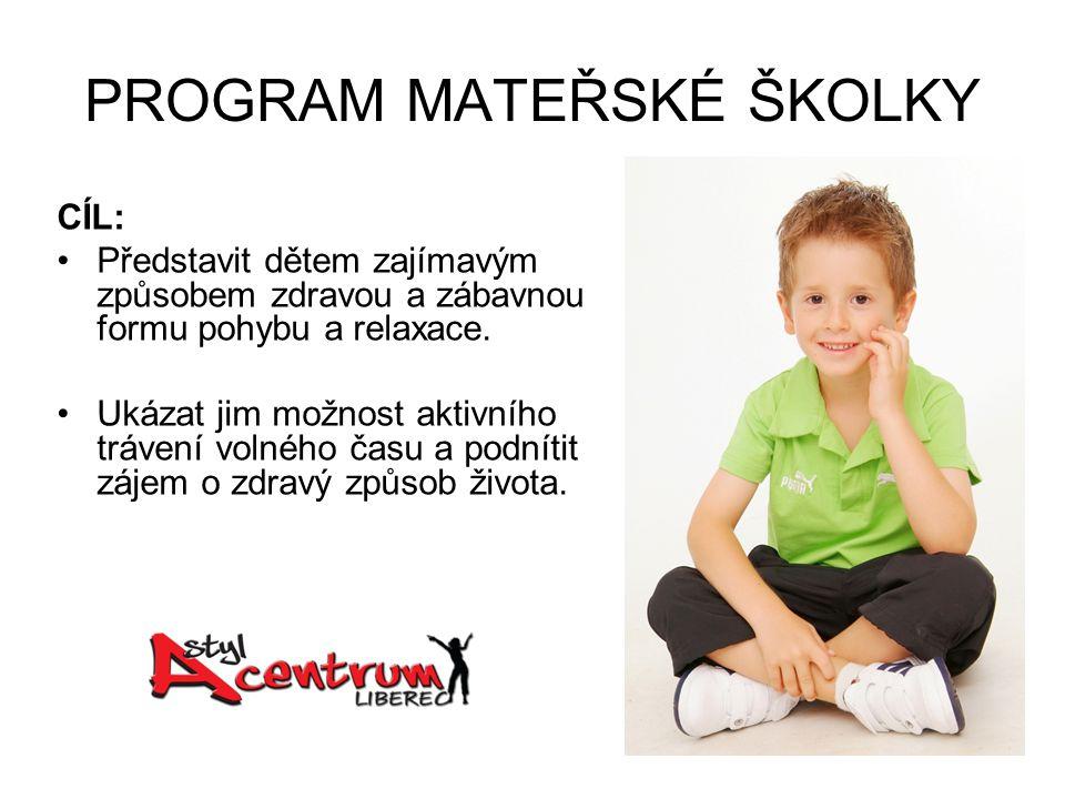 PROGRAM MATEŘSKÉ ŠKOLKY CÍL: Představit dětem zajímavým způsobem zdravou a zábavnou formu pohybu a relaxace.